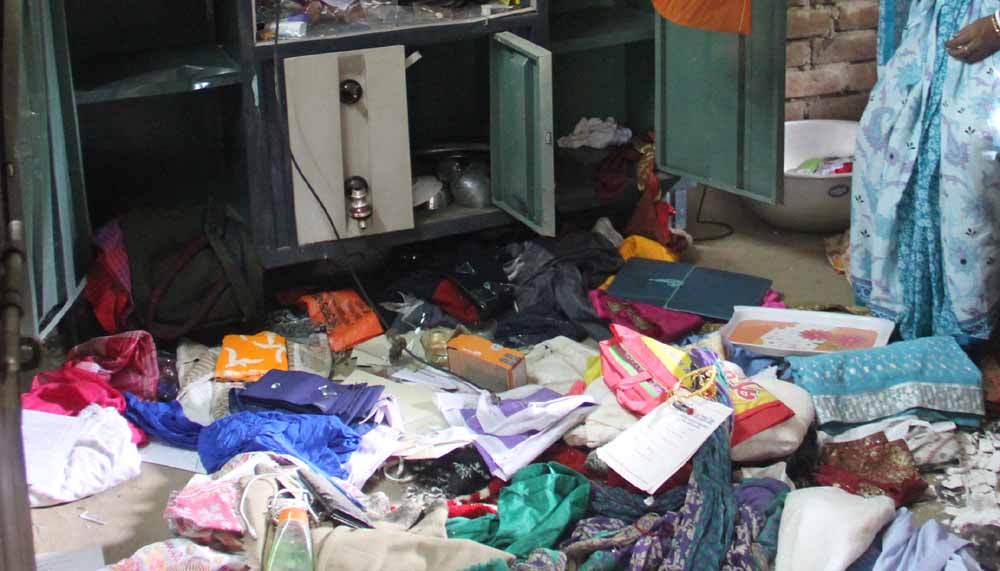 Ransacked house of a BJP candidate in Ghoralia