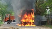A state transport bus set on fire by mob in Mahisbathan