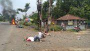 Three bike borne Trinamul activists lying on the road in Babla