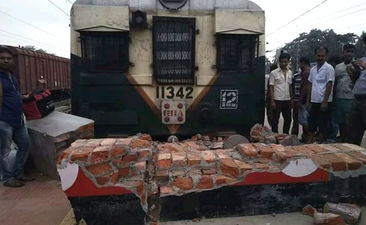 Bangaon local after it rammed into the guard wall