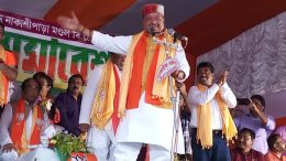 BJP's National Secretary Kailash Vijayvargiya speaking in Bethuadahari. Picture by Anarul Haque
