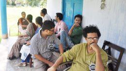 Teachers waiting outside staff room at Krishnanagar Women's College