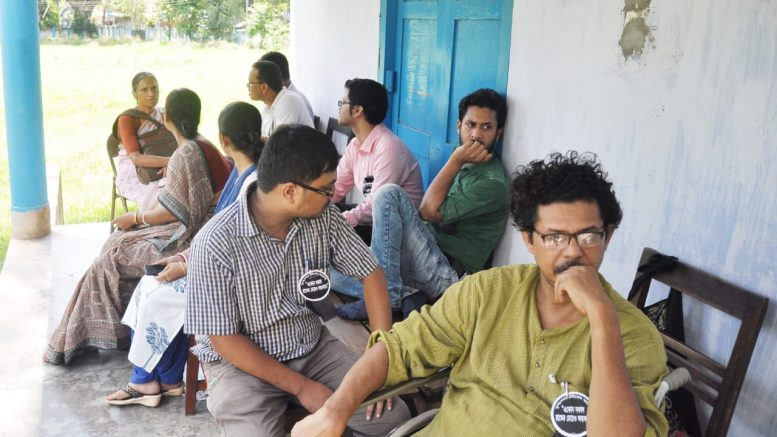 Teachers waiting outside staff room at Krishnanagar Women's College
