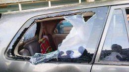 Damaged Toyto Innova of BJP leader Shamik Bhattacharjee