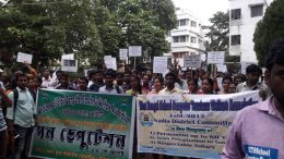 Computer instructors walking in rally in Krishnanagar