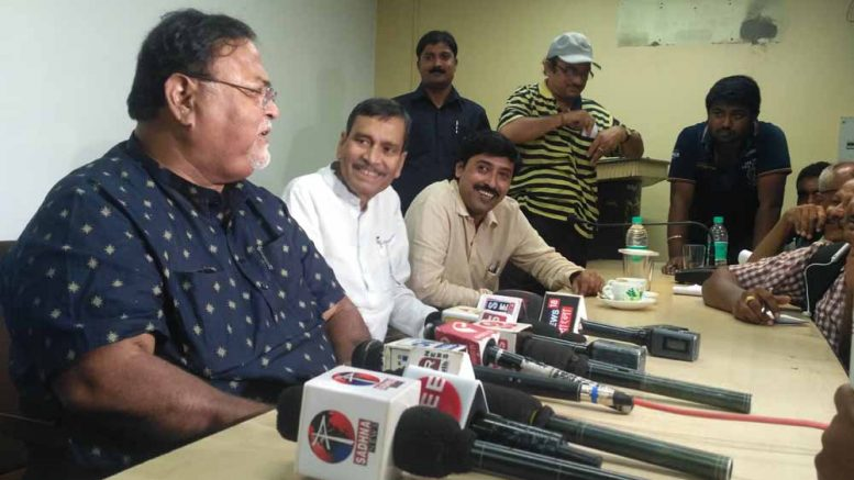 Minister Parth Chatterjee speaking to media persons after a meeting with students of BCKV