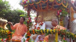 A procession on the occasion of holy appearance day of Srila Sachchidananda Bhaktivinod Thakur in Swarupganj