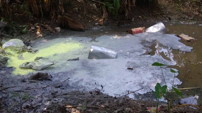 Villagers thrown out gunpowder in pond