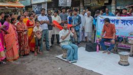 A street play by 'Srijak' to raise money for cancer patient Prabhash Ganguly