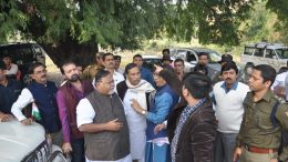 Partha Chatterjee speaking to officials at Government College ground