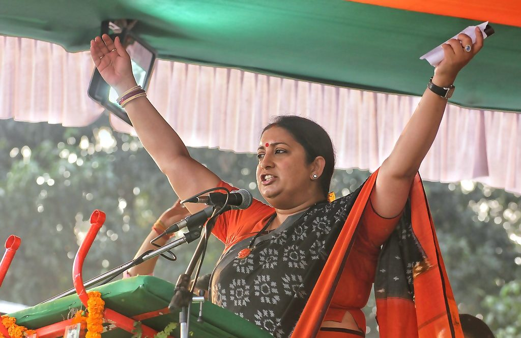 Union Textiles Minister Smriti Irani speaking at a BJP rally in Krishnanagar Sandhyamathpara on Thursday.