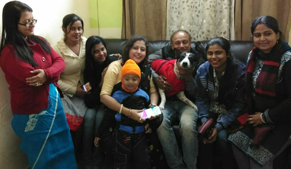 Pusa with the Mujherjee family members on her birthday