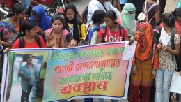 Students agitate demanding removal of Professor Manabi Bandopadhyay in Krishnanagar