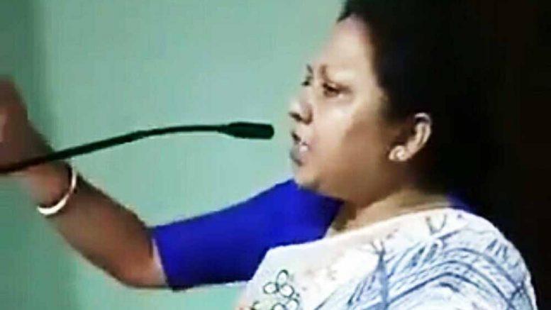 Ratna Ghosh speaking at the closed door meeting in Shimurali
