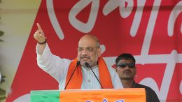 Amit Shah speaking in a public meeting in Krishnanagar. Picture credit Abhi Ghosh.