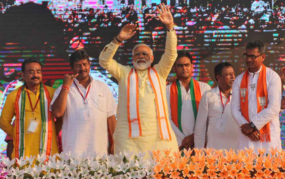 Narendra Modi in Taherpur on Wednewday. Picture by Abhi Ghosh