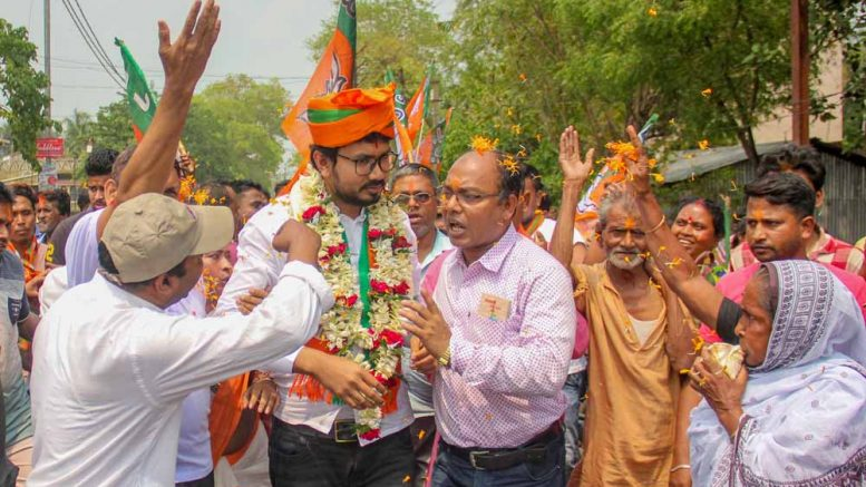 Mukut Mani Adhikari during campaign in Ranaghat (File Picture)