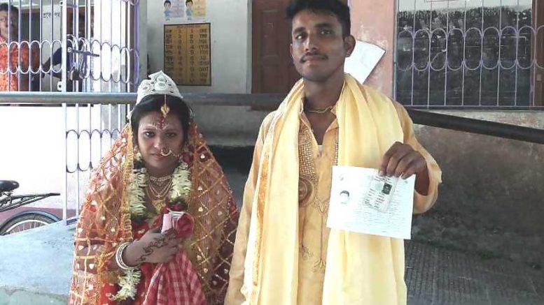 Rupali Biswas and Swapan Biswas at Teghari Primary School on Monday