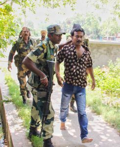 An outsider caught by Central Force jawans