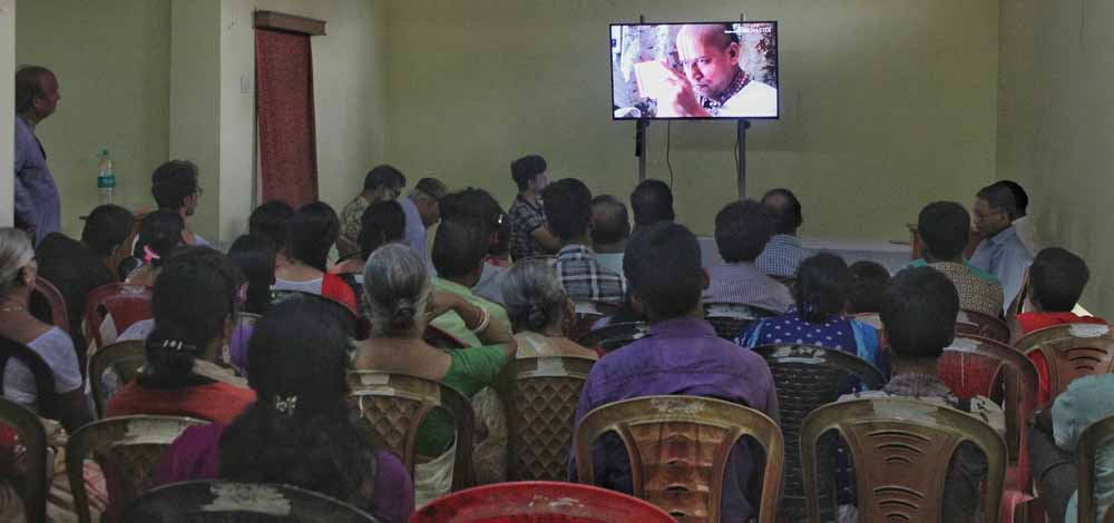 A documentary being shown in Santipur