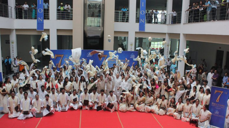 Students of IISER-Kolkata who received their degrees celebrating