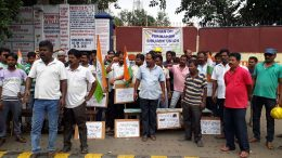 Drivers demonstrate in front of the main entrance of Indian Oil's Kalyani plant