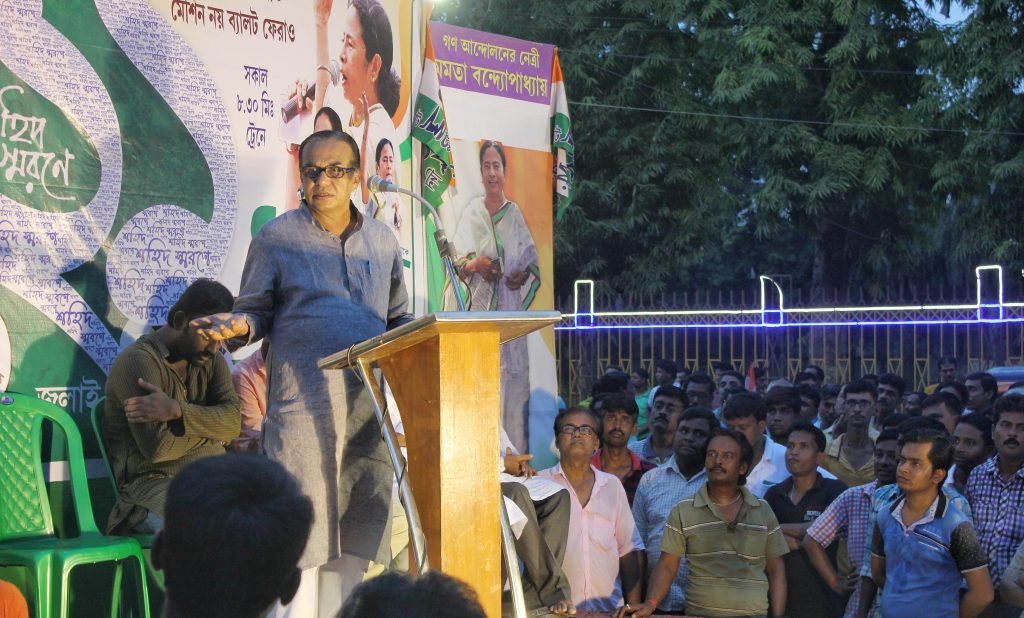 Chairman of Santipur Municipality Ajoy De speaking at a meeting in Santipur town on Wednesday evening against the role of a section of party leaders.