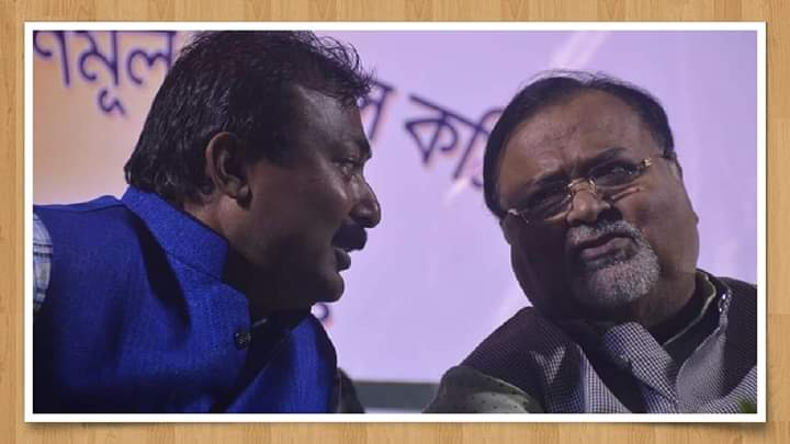 Rajib Dalal with Trinamul secretary general Partha Chatterjee