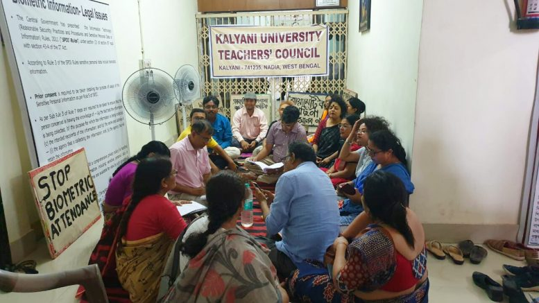 Teachers demonstrate in front of Vice Chancellor's office