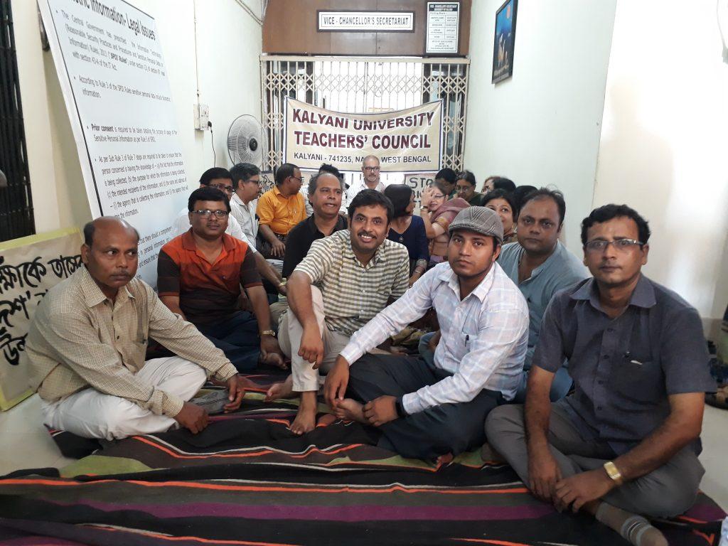 Teachers demonstrate in front of VC's Office in Kalyani University