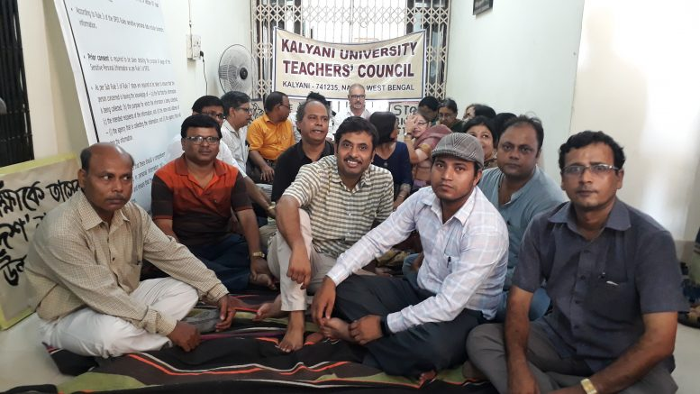 Teachers demonstrate in front of VC's Office in Kalyani University