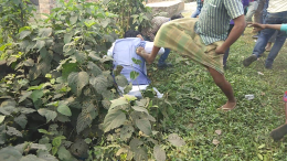 BJP candidate Jay Prakash Majumdar being kicked by a suspected Trinamul activist in Ghiaghata on Monday