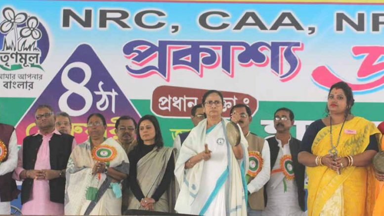 Mamata Banerjee in Habibpur Chhatimtala ground near Ranaghat on Tuesday