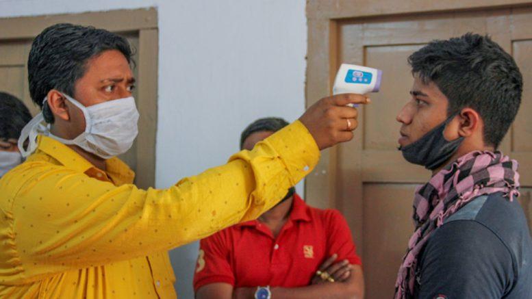A youth being examined at Santipur hospital