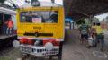 A Sealdah bound Krishak special train at Santipur rail station on Thursday